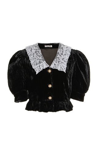 Cropped Collared Velvet Top