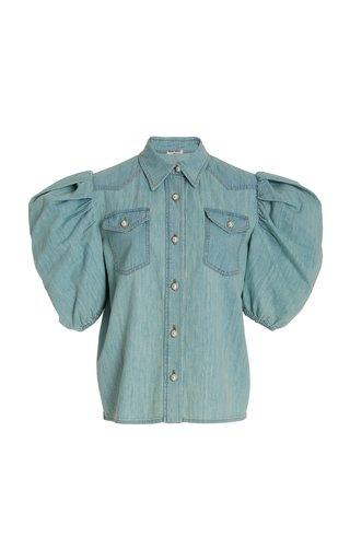 Puff-Sleeve Cotton Chambray Shirt