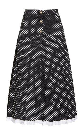 Pleated Polka-Dot Satin Midi Skirt