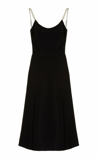 Pearl-Detailed Cady Midi Dress