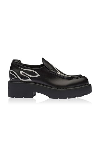 Flame Leather Platform Loafers