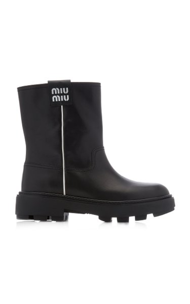 Logo-Detailed Leather Ankle Boots