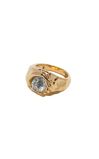 Gold-Plated Braided Stone Signet Ring