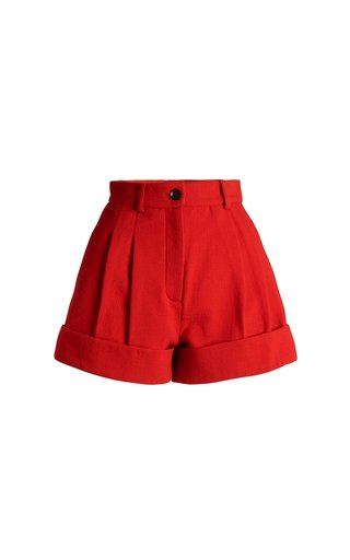 Cardinal Double-Crepe Virgin Wool Mini Shorts