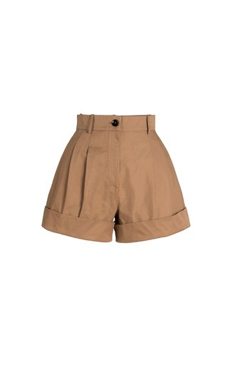 Johnny Pleated Cotton-Blend Mini Shorts