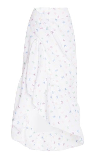 Whoopsy Daisy Floral-Embroidered Cloqué Midi Skirt