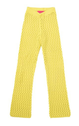 Cross Net-Cashmere Flared Pants