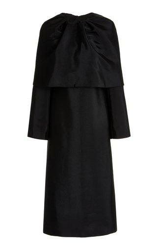 Caped Satin Dress Set