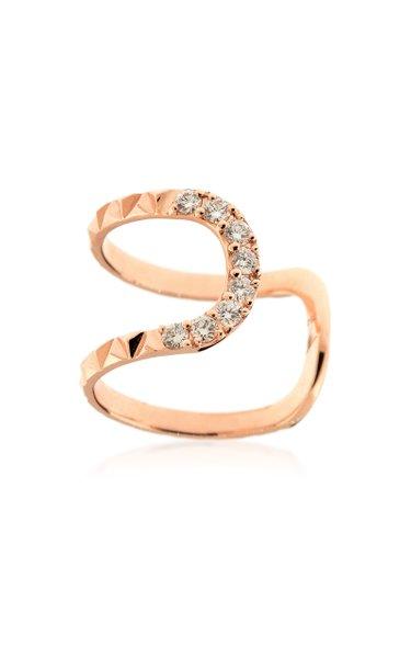 Large Connect 18K Rose Gold Diamond Ring