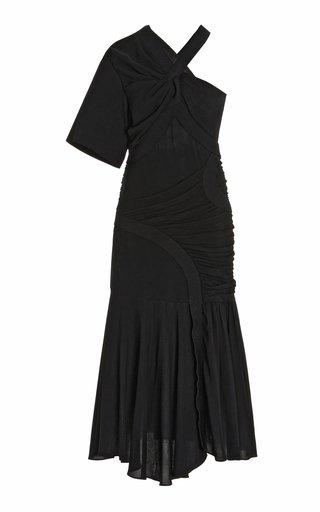 Emmeline Asymmetric Georgette One-Shoulder Midi Dress
