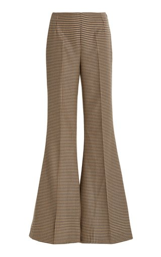 Mona Houndstooth Wool Flared-Leg Trousers