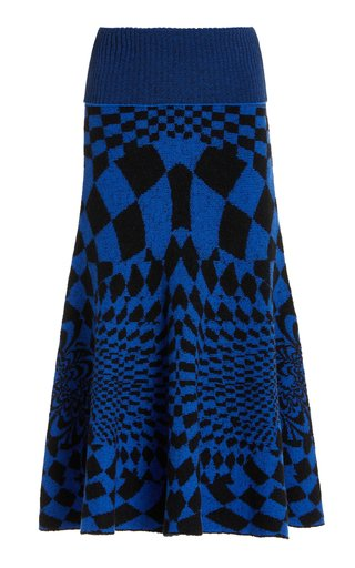 Geometric-Patterned Wool-Blend Midi Skirt
