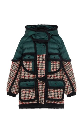 Vera Shell and Checked Wool Hooded Puffer Coat