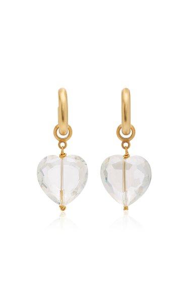 Speechless 24K Gold-Plated Crystal Hoop Earrings