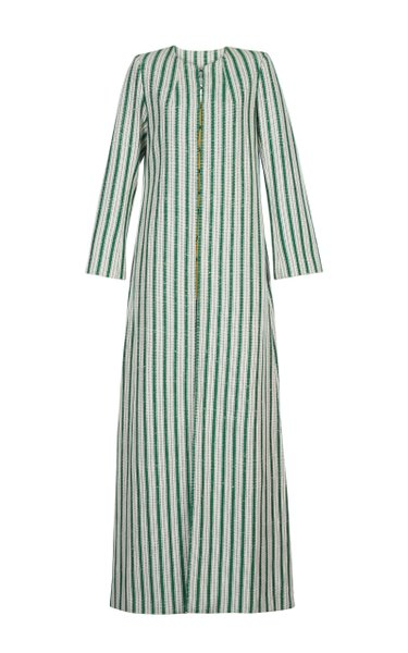 Titicaca Handwoven Striped Cotton-Blend Coat