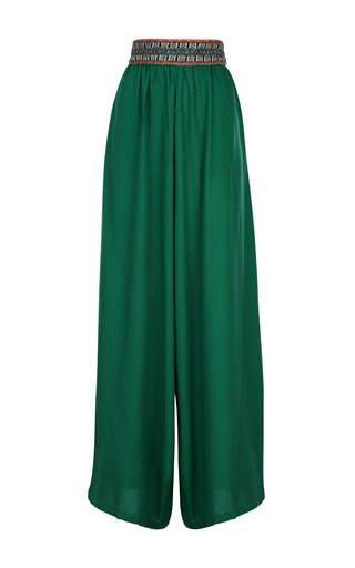 Marcela Handwoven Cotton Wide-Leg Pants