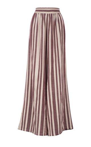 Paraiso Handwoven Striped Cotton Wide-Leg Pants