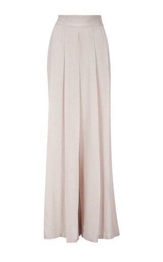 Acasia Pleated Cotton Wide-Leg Pants