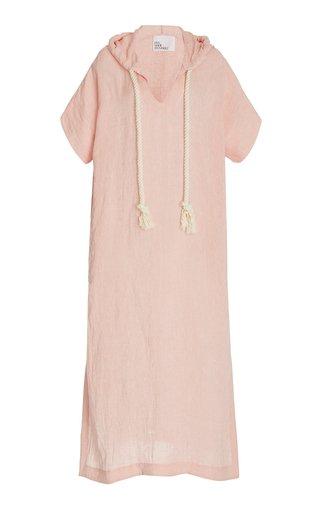 Linen-Blend Hooded Caftan