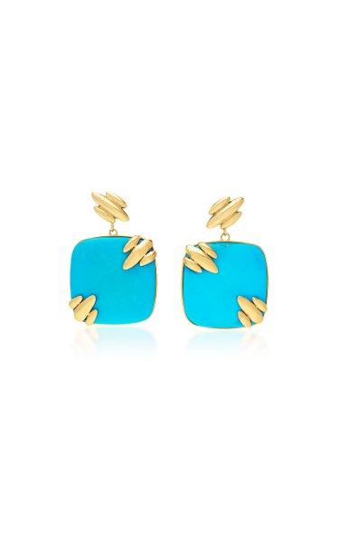 Droplet Jojo 18K Yellow Gold Turquoise Earrings