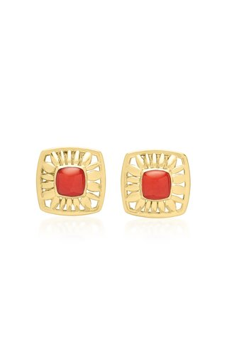 Droplet Mage 18K Yellow Gold Coral Earrings