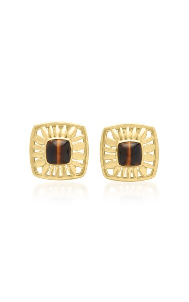 Droplet Mage 18K Yellow Gold Tiger's Eye Earrings