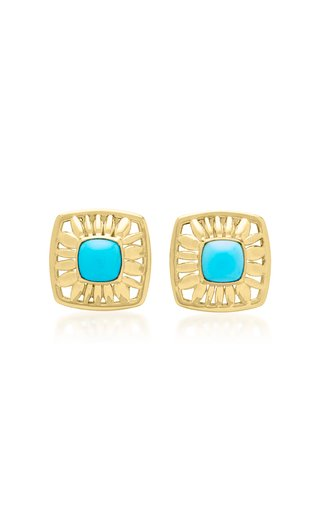 Droplet Mage 18K Yellow Gold Turquoise Earrings