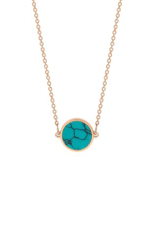 Mini Ever 18k Rose Gold Turquoise Disc Necklace