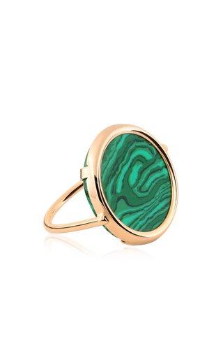 Ever 18k Rose Gold Malachite Disc Ring