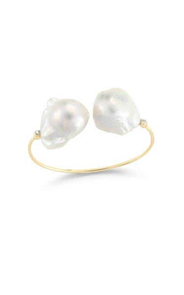 14K Yellow Gold Double Pearl Cuff Bracelet