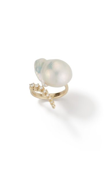 14K Yellow Gold Baroque Graduated Diamond Ring