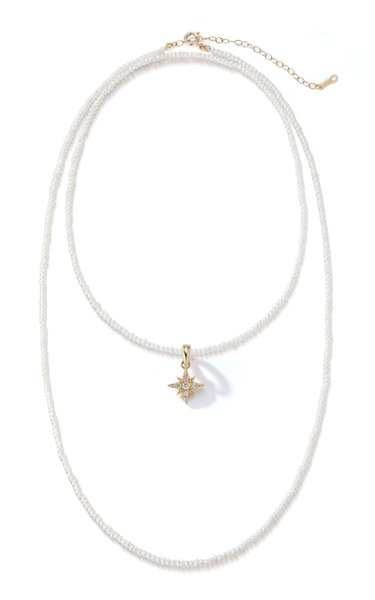 14K Yellow Gold Freshwater Pearl & Small Diamond Star Necklace