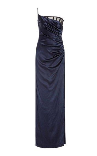 Asymmetric Draped Silk-Charmeuse Gown