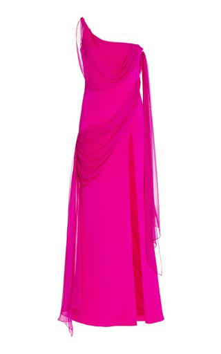 Draped Silk One-Shoulder Gown