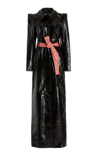 Belted Patent Leather Maxi Dress