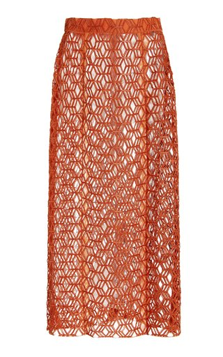Beaded Lasercut Silk Chiffon Maxi Skirt