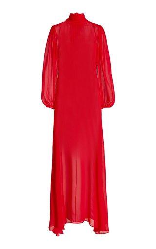 Tie-Neck Silk Georgette Maxi Dress