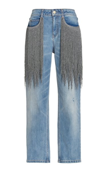Lance Fringed Stretch Mid-Rise Straight-Leg Jeans