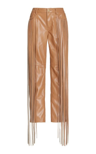 Allie Fringed Faux Leather Skinny Pants