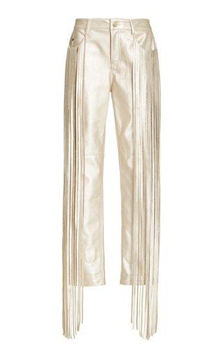 Allie Fringe-Trimmed Faux Leather Skinny Pants
