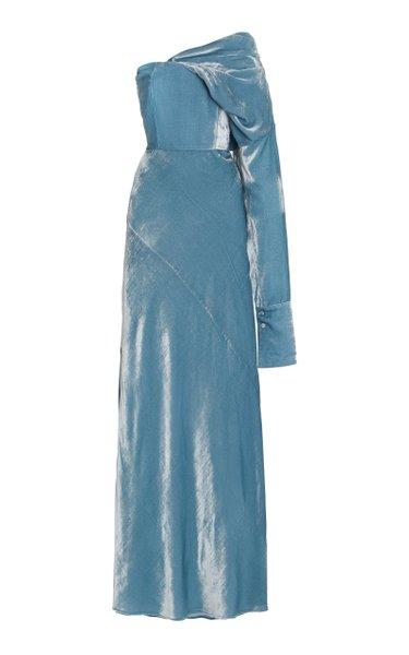 Talia Asymmetric Velvet Bustier Gown
