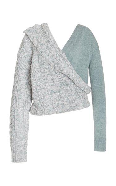Kristina Asymmetric Two-Tone Wool-Cashmere Sweater