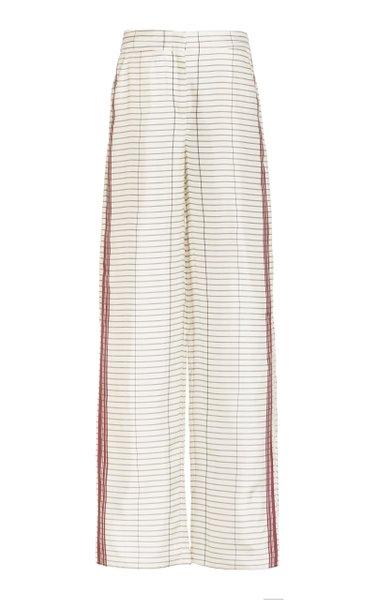 Suarez Striped Silk Twill Wide-Leg Pants