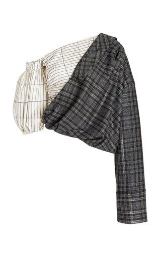 Amalie Asymmetric Metallic Plaid Flannel Top
