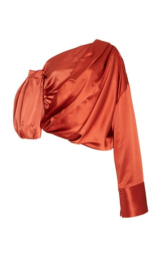 Amalie Asymmetric Silk-Satin Top