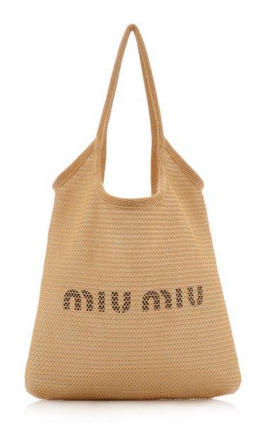 Logo-Print Raffia Tote Bag