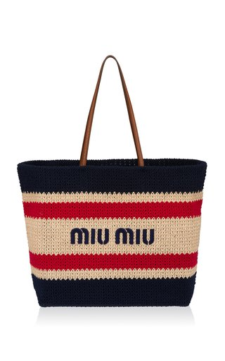 Logo-Embroidered Striped Raffia Tote Bag