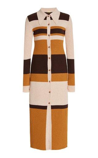 Carl Striped Ribbed-Knit Midi Dress
