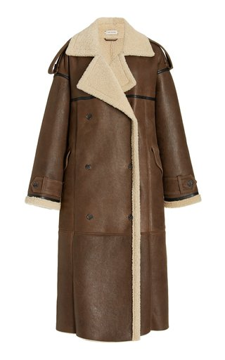 Long shearling coat with ruched detail