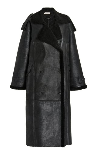 Long Shearling Double-Breasted Coat